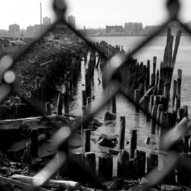 Bruce Panock: 'West Side Piers 2', 2008 Black and White Photograph, Landscape. Artist Description:  A view of a former Hudson River pier ...