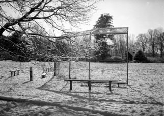 Bruce Panock: 'Winter Baseball Field 2009', 2010 Black and White Photograph, Abstract. Artist Description:  A beautiful winter day ...