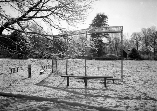 Bruce Panock  'Winter Baseball Field 2009', created in 2010, Original Photography Black and White.