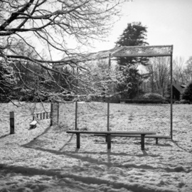 Bruce Panock Artwork Winter Baseball Field 2009, 2010 Black and White Photograph, Abstract