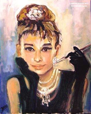 Bruni  Sablan: 'audrey hepburn by bruni', 2018 Oil Painting, People. Artist Description: Audrey Hepburn  Breakfast At Tiffany s  by BRUNIMedia: Oil on Canvas, Size: 24  x 30 , Cat : 1257Status: SOLDReproductions Available Call: 408- 298- 4700www. BRUNIJAZZART. com...