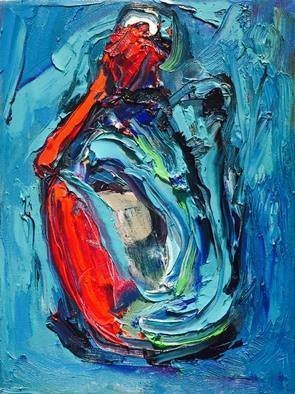 Bruni  Sablan: 'blue female abstract by bruni', 2018 Oil Painting, Figurative. Artist Description: Blue and Red Female Abstract by BRUNI 16x18...