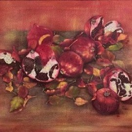 Elena Belkova: 'pomegranates', 2015 Oil Painting, Still Life. Artist Description: Flemish technique...