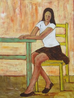 Bryce Brown: 'Girl at a Table', 2016 Acrylic Painting, Figurative.  Texture, colour, boldness, immediacy of brushwork have been applied to keep this piece bold and fresh. A classic composition rendered in contemporary form. ...