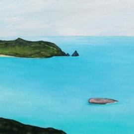 Bryce Brown: 'sea change', 2017 Acrylic Painting, Figurative. Artist Description: Set in the Coromandel, New Zealand Sea Change is the perfect blend of my older iconic figure paintings and my more recently developed techniques for coastal and landscape work. I m really very happy with this new painting Sea Change brings a sense of calm to the room. ...