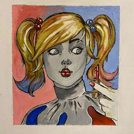 Sergey Medvedev: 'harly qween', 2020 Oil Painting, Comics. Artist Description: COPY Harly Qween from internet...