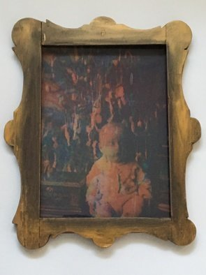 Beata Szechy: 'marionett', 2018 Mixed Media, Conceptual. Artist Description: This picture I made for the Christmas exhibit from 4 glass negative images printed with 4 colors, and framed in a carved frame. ...