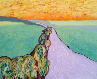 Acrylic Painting by Lynne Sonenberg titled: Good Road, created in 2014