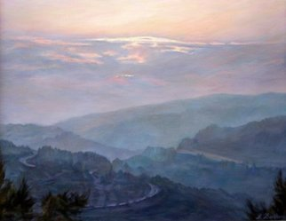 Bukhina Maya: ' Evening in the mountains', 2008 Oil Painting, Mountains. Artist Description:   Sunset, and so well. . .Work sold and is in private collections.  ...