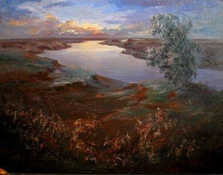 Slava Buneev Artwork sunrise over the river, 1995 Oil Painting, Landscape