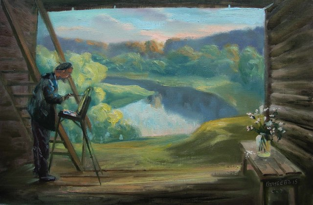 Slava Buneev  'The Stand On The Ugra River', created in 2015, Original Painting Oil.