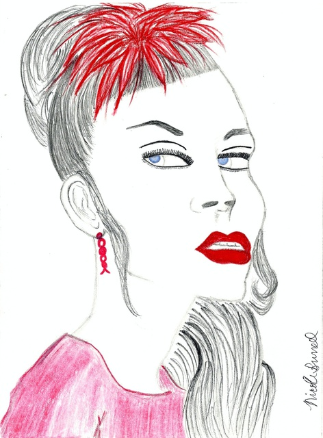 Nicole Burrell  'Lady In Red', created in 2012, Original Drawing Marker.