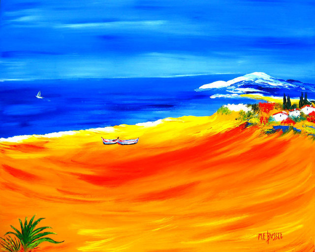 Marie-France Busset  'DUO SUR LA PLAGE', created in 2006, Original Painting Oil.