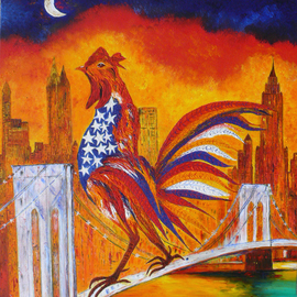 LE COQ A NEW YORK SUR LE PONT DE BROOKLYN  By Marie-France Busset