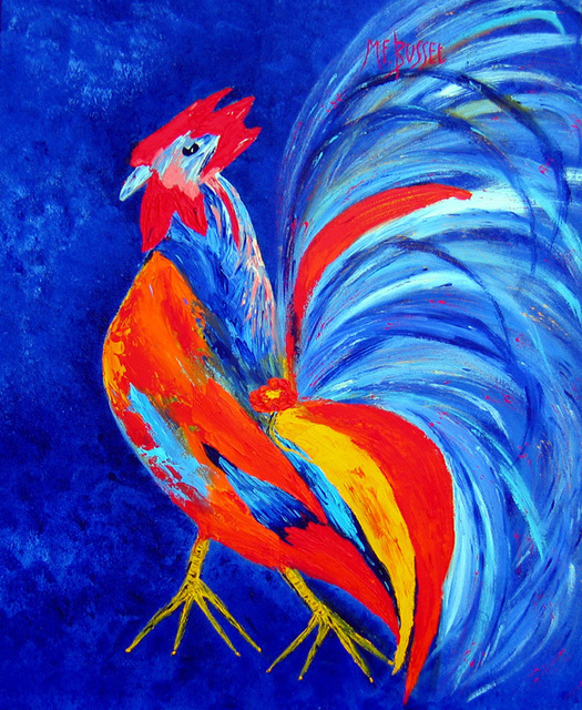Marie-France Busset  'LE COQ A PATTES JAUNES', created in 2006, Original Painting Oil.