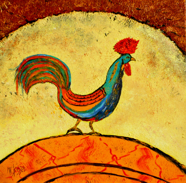 Marie-France Busset  'LE COQ DU QUEYRAS', created in 2010, Original Painting Oil.
