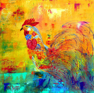 Marie-france Busset Artwork 'LE COQ REVEUR', 2006. Oil Painting. Animals. ...