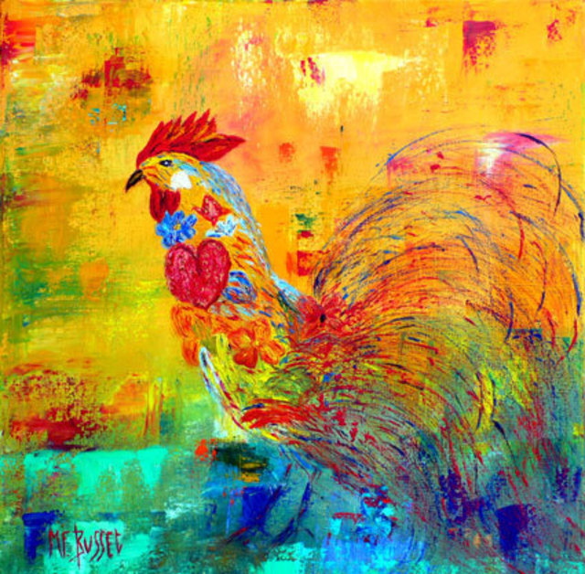 Marie-France Busset  'LE COQ REVEUR', created in 2006, Original Painting Oil.