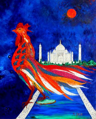 Marie-france Busset: 'LE COQ REVE DU TAJ MAHAL', 2012 Oil Painting, Abstract Figurative.