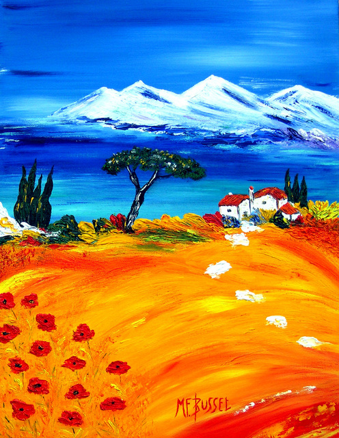 Marie-France Busset  'UN ECRIN DE LA MEDITERRANEE', created in 2006, Original Painting Oil.