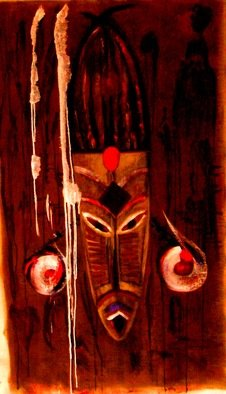 Bridget Busutil: 'African mask 3', 2007 Acrylic Painting, Abstract Figurative.  the spirituality of African masks.pigments with binder on canvas ...