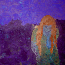 Bridget Busutil: 'Mermaid2', 2006 Encaustic Painting, Abstract Figurative. Artist Description:  Encaustic on wood.Follow : leavingThis Mermaid reflects her sadness of leaving. She is bent under the weight of the suffering, , , , ...
