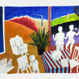 William B Hogan: 'after the drawing session', 2018 Acrylic Painting, Abstract Figurative. Artist Description: A family takes a walk after breakfast and  drawing   Drawing and painting...