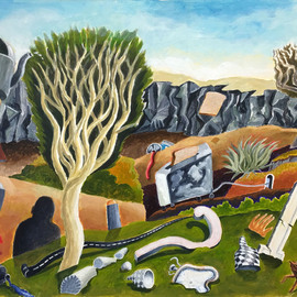 William B Hogan: 'objects in a landscape', 2018 Acrylic Painting, Surrealism. Artist Description: Objects one does not always see in a landscape...