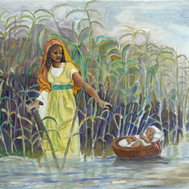 Delroy Russell: 'baby moses', 2018 Oil Painting, Biblical. Artist Description: From the book of Genisis story about Moses in Egypt. painting focus on the  tender love of a woman and a mother...