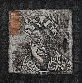 Delroy Russell: 'maya angelou', 2008 Linoleum Cut, Famous People. Maya is a great example of survival, and strength of character. This piece shows the power of language,  as the pen mightier than the sword  black and white reinforce the drama to encourage a focus on the idea of struggle   ...