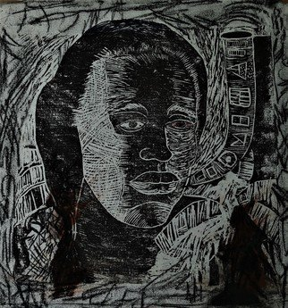 Delroy Russell: 'mother africa', 2020 Linoleum Cut, Conceptual. linocut technique with emphasis on African symbols.exploration in crosshatching to create depth, form and tonal value. ...