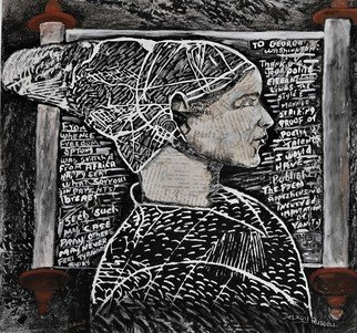 Delroy Russell: 'phyllis wheatley', 2008 Linoleum Cut, Famous People. Phyllis Wheatley, first black American slave published poet. My black and white rendition is an attempt to allow the viewer to look at the work with colorful embleshmentswithout colourful emblshments ...