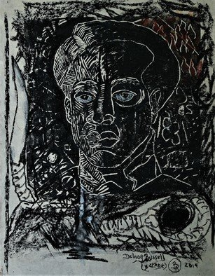 Delroy Russell: 'samuel sharpe', 2020 Linoleum Cut, Conceptual. National hero of Jamaica, created technique, linocut. strong black element signifying solid unrelenting strength  ...