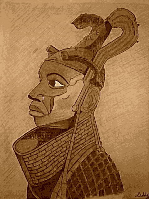 Caddy King  'The Portrait Oba Of Benin', created in 2012, Original Drawing Charcoal.
