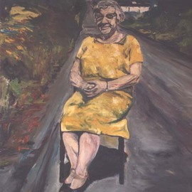 Paul Cairns: 'Jane Webb sitting on the High Road Sion Mills', 2006 Oil Painting, Figurative. Artist Description:  Jane Webb was my great Aunt, and I owed her this painting. She decided to sit in the road one sunny Sunday in July 1967. ...