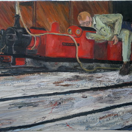 Paul Cairns: 'Samantha getting prepped for work', 2016 Oil Painting, Trains. Artist Description:  Two brothers prep their trains for bank holiday display. I like the fact that there are still places teenagers can access lathes and steam engines. ...