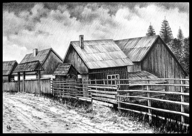 Calin Baban  'Houses Near The Road', created in 2020, Original Drawing Graphite.