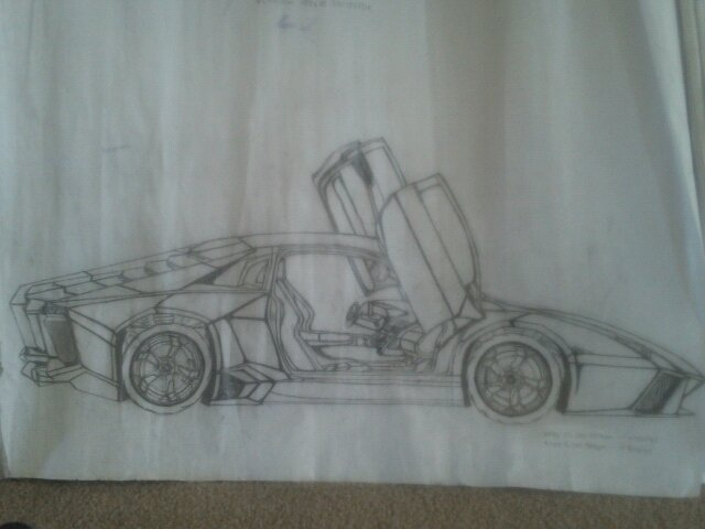 Call Marquis  'Lamborghini Reventon', created in 2010, Original Drawing Pencil.