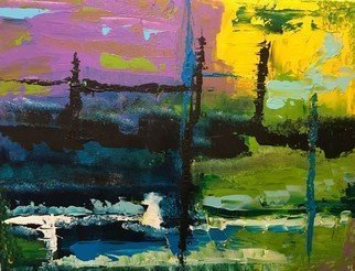 Russell Saunders: 'warhol bayou', 2016 Acrylic Painting, Abstract Landscape.