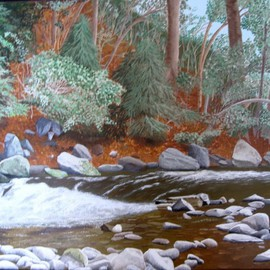 Joseph Caputo: 'The Stream', 2010 Acrylic Painting, Scenic. Artist Description:  Down by the stream in late fall ...