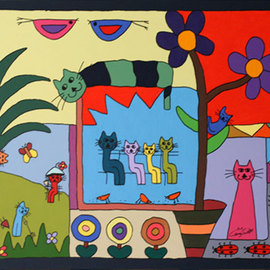 Carey Scott Artwork Cats Escapade, 2010 Acrylic Painting, Cats