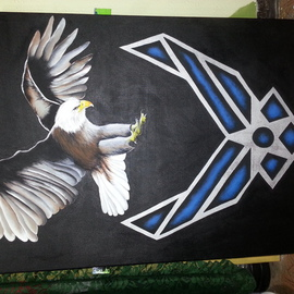 Carlos Thompson: 'bravo calling', 2014 Acrylic Painting, Military. Artist Description:  Its a huge painting with a flying eagle realistic and has the airl force logo. ...