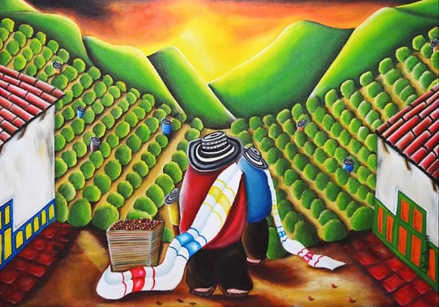 Carlos Duque  'Coffee Harvest', created in 2019, Original Painting Oil.