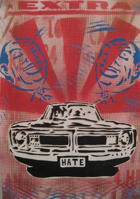 Carlos Madriz: 'hazte premium', 2018 Other Printmaking, Satire. Artist Description: Handcut stencil, spray paint , free style screen print on canvas pad paper. ...