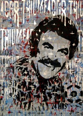 Carlos Madriz: 'tonico triunfador', 2017 Other Printmaking, Satire. Artist Description: Parody of menA's virility tonic using US actor Tom Selleck as the commercial image.Limited edition produced using manual printing techniques, fixing stencils cut by hand using X- Acto blades to silkscreen printing frames. Tones and shades are superimposed on each other, in a radical departure from ...