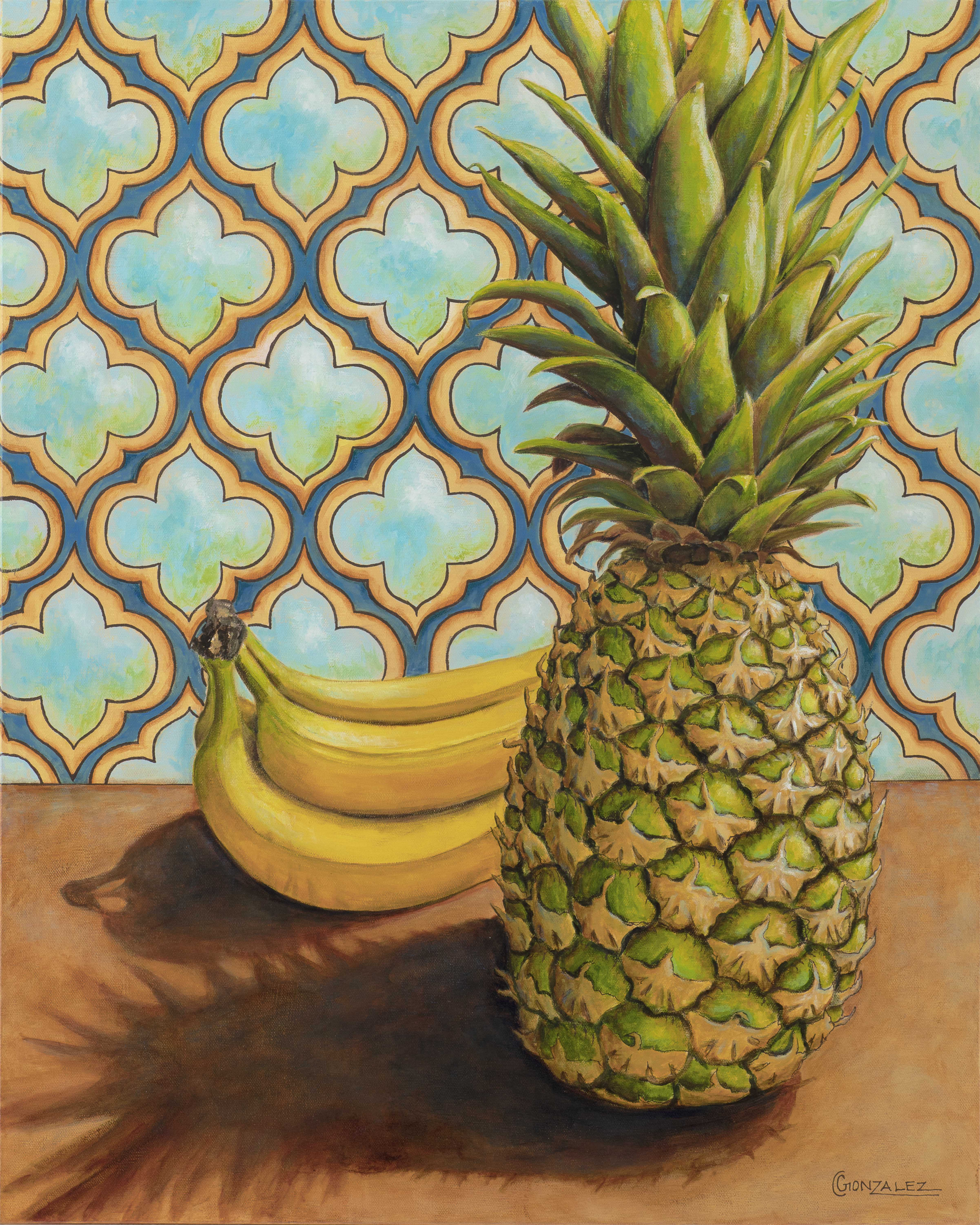 Carmen Gonzalez: 'banana ou anana', 2019 Acrylic Painting, Food. Painting done in acrylic on canvas.Certain items trigger significant emotions or memories.  When I see a pineapple, I am always transported back in time to when I was traveling in Hawaii with my husband on our honeymoon 23 years ago.  When we were there, we visited a pineapple plantation.  ...