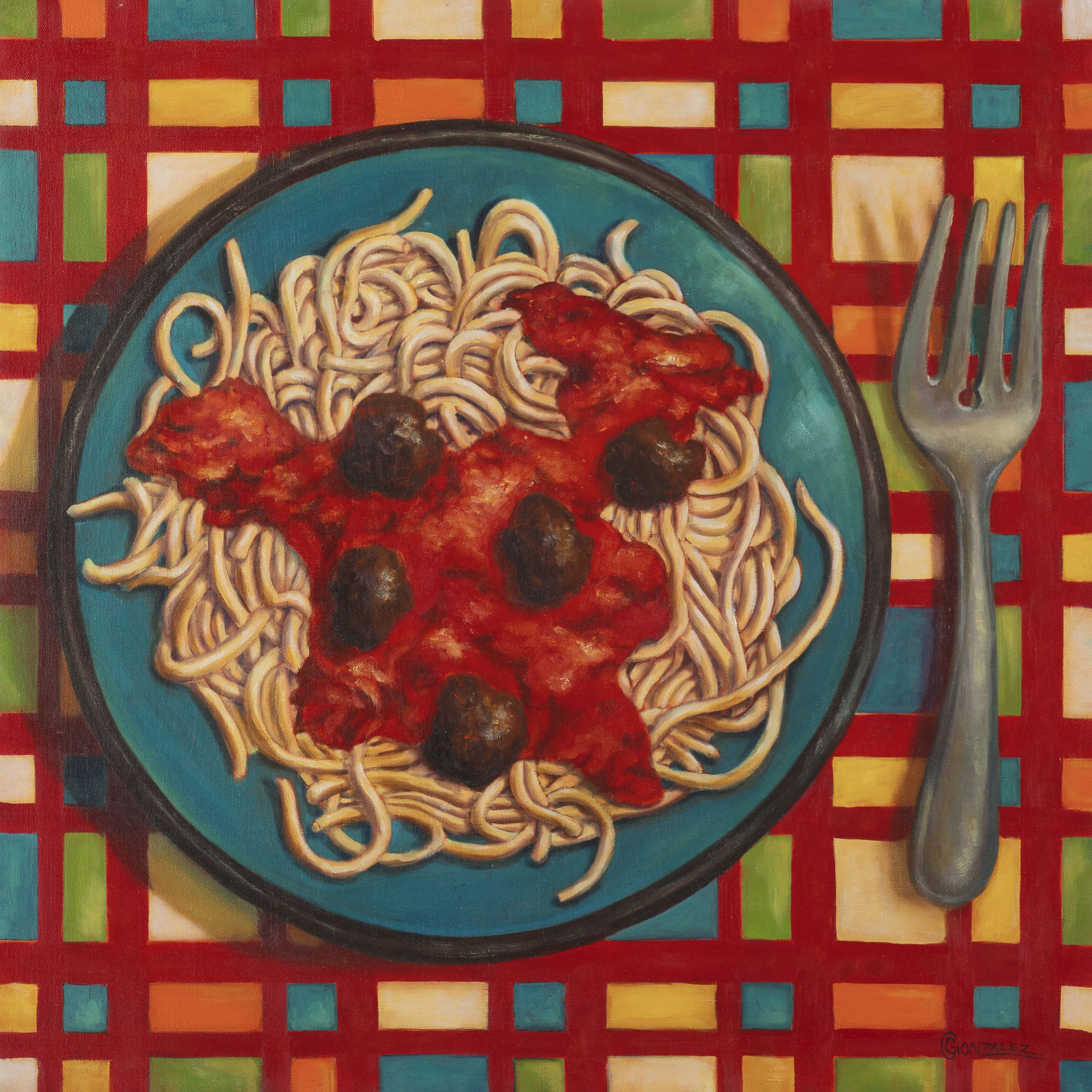 Carmen Gonzalez: 'bessghetti', 2016 Oil Painting, Food. My goal was to stimulate the vieweraEURtms senses of sight, taste, smell, and touch through realism and amplified colours.  I wanted my viewers to aEURoetaste it with their eyesaEUR which then triggers physical and emotional sensations causing hunger, thirst, joy, excitement, comfort, and perhaps guilt or regret...