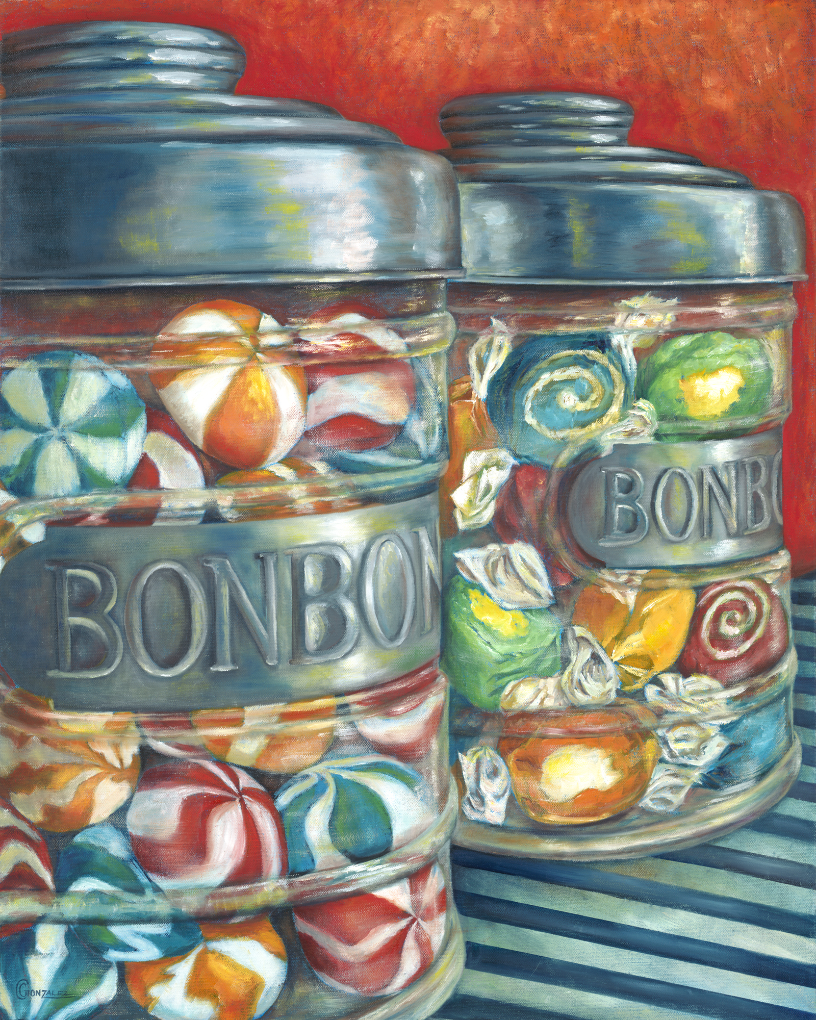 Carmen Gonzalez: 'bonbon oui oui', 2012 Oil Painting, Food. Painted with oil on canvas.  My candies series paintings were inspired by childhood memories.  Every time I see certain candies, I am reminded of times as a child.  Candy has a way of luring us in with its bright colors, fun shapes, and addicting flavors.  It brings out the child ...