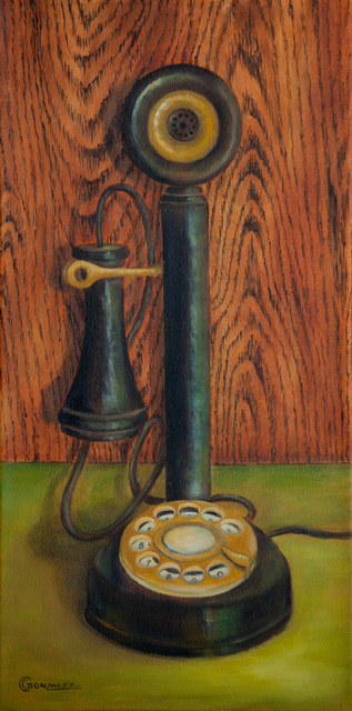Carmen Gonzalez  'Candlestick Rotary Phone', created in 2016, Original Painting Acrylic.