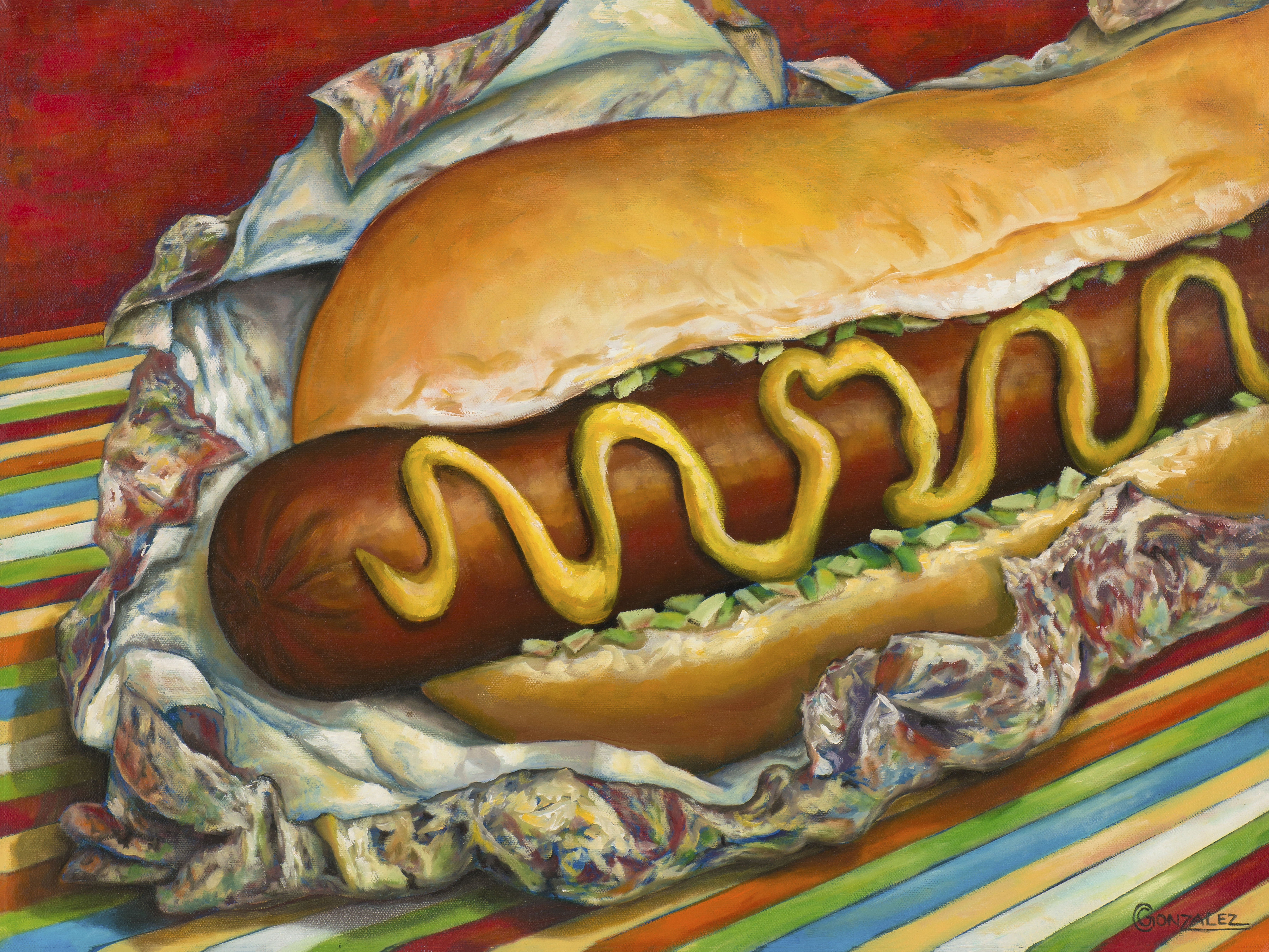 Carmen Gonzalez: 'carnival hot dog', 2015 Oil Painting, Food. My goal was to stimulate the vieweraEURtms senses of sight, taste, smell, and touch through realism and amplified colours.  I wanted my viewers to aEURoetaste it with their eyesaEUR which then triggers physical and emotional sensations causing hunger, thirst, joy, excitement, comfort, and perhaps guilt or regret. ...